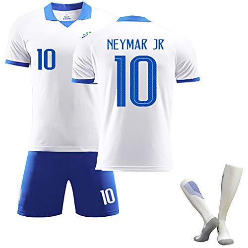Kinder-Erwachsenen-Fußball-T-Shirt, Neymar JR-Fußballtrikot, Brasilien 2020 Neuestes Auswärtstrikot-Trikot, Bester Schütze, Wiederholbare Reinigung, anpassbar-White-110yards