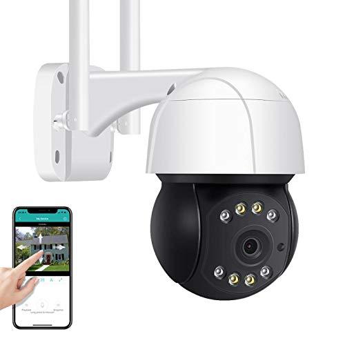 Cámara de vigilancia para exteriores 3MP HD WiFi PTZ Cámara IP, voz bidireccional, seguimiento humanoide, alarma sonora, visión nocturna, IP66 a prueba de agua, ONVIF (Cámara + tarjeta TF de 32G)