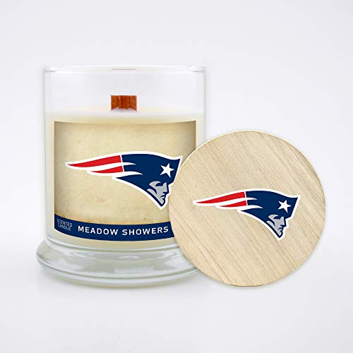 Worthy Promo NFL New England Patriots Gifts 8oz Scented Candle Soy Wax w/Wood Wick and Lid, Meadow Showers, Team
