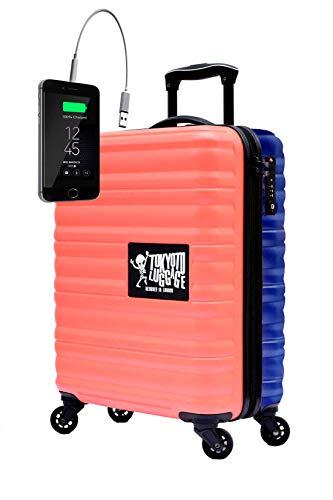 Maleta de Cabina Equipaje de Mano 55x40x20 Maleta Juvenil Trolley de Viaje Ryanair Easyjet Maleta de Viaje Rígida Coral/Blue (Preparada para Cargar Móviles) TOKYOTO Luggage (Solo Maleta)
