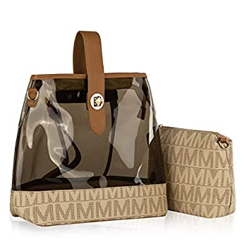 Mia K Collection Clear Purse Handbag for Women  Crossbody Backpack - Adjustable Strap PU Leather - Cosmetic Bag Pouch Beige