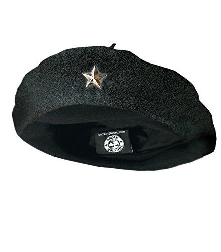 Che Guevara Store Beret Black Original Beret, Silver Star Large Size 7.5-8.25