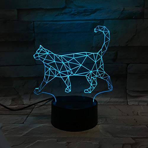 Cat LED night light 3D illusion 7 lámpara decorativa que cambia de color niños niños niña regalo animal lindo gato lámpara de mesa