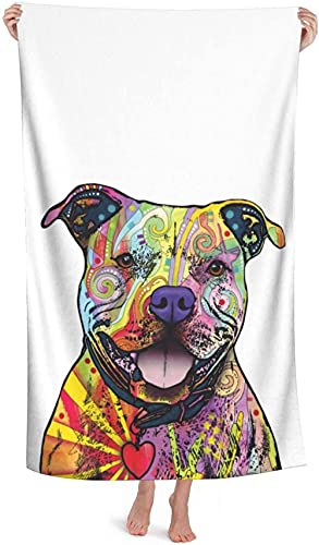 LUYIQ Beach Towels,Microfibre Beach Towels Large,Pit Bulls,52x32 Inches,Sand Free,Quick Dry,Lightweight Beach Towels for Sports,Swimming,Yoga,Gym,Travel,Camping