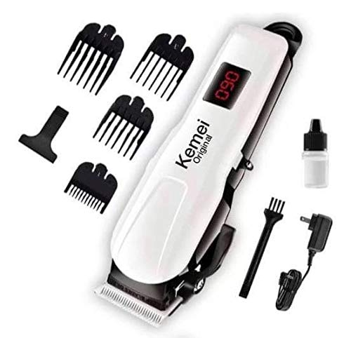 Kemei Original KM-809A Professional Rechargeable and Cordless Hair Clipper Runtime: 120 min Trimmer for Men, White