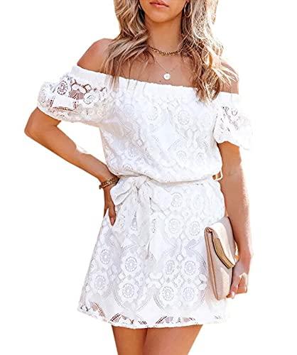 LATH.PIN Damen Strandkleid Spitze Kleidung Sexy Partykleid Trägerlos Strandkleider Weiß Kleid Schulterfreien Top mit Gürtel