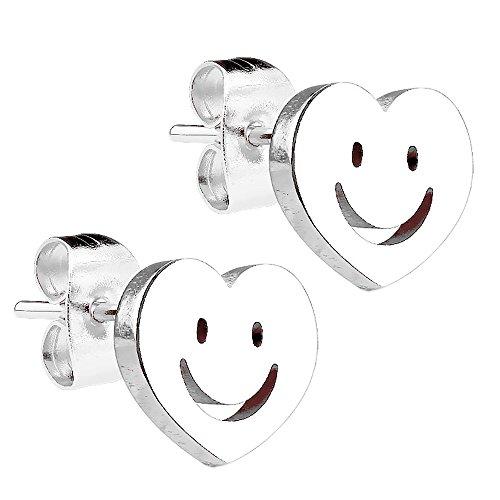 Piersando Damen Ohrstecker Kleine Ohrringe aus Edelstahl Klein Stecker Herz mit Smiley Silber