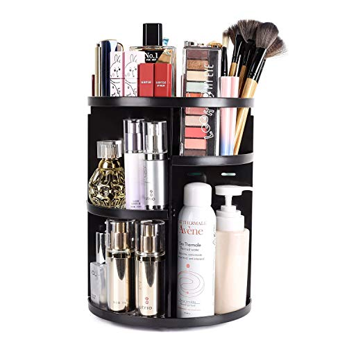 sanipoe 360 Rotating Makeup Organizer, DIY Adjustable Makeup Carousel Spinning Holder Storage Rack,...