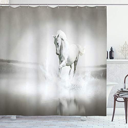 """Ambesonne Horses Shower Curtain, Wild Horse Running Through Water Dramatic for The Motivation of Life Art, Cloth Fabric Bathroom Decor Set with Hooks, 75"""" Long, Sage Green"""