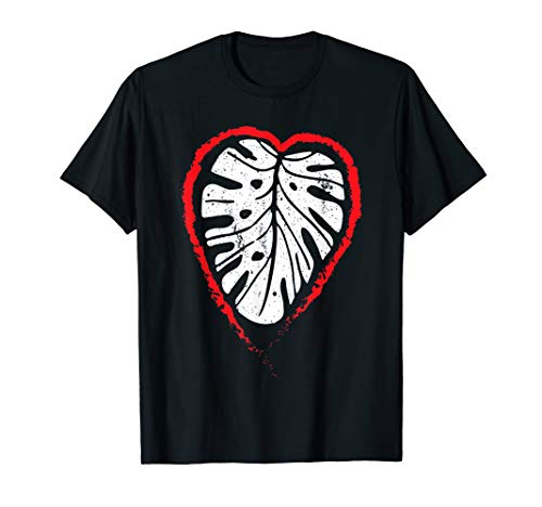 House Plant Lovers Gifts Monstera Leaf Red Heart Gardener T-Shirt