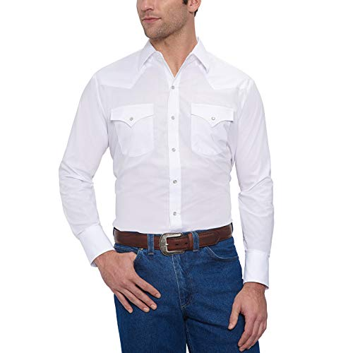 Ely Cattleman Men's Long Sleeve Solid Western Shirt, White, Large