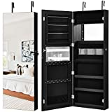 Giantex Jewelry Armoire Wall Door Mounted, Lockable Jewelry Cabinet with Full Screen Display View Larger Wider Mirror 16'', Large Capacity Jewelry Organizer Jewelry Box with Full Length Mirror (Black)