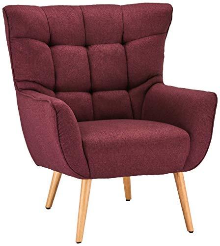 Ibbe Design Bordeaux Bequem Ohrensessel Retro Lounge Sessel Skandinavisch Lesesessel Stoff mit Armlehnen Bruno, Sitzhöhe 47 cm, 83x86x97 cm