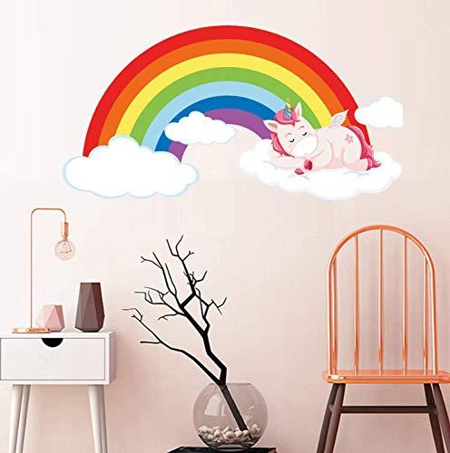 Pegatinas De Pared Arcoiris & Amp;Unicornio Durmiendo En La Nube Pegatinas De Pared Decoración De La Habitación Arte Vinilos Calcomanías Niños Niños Sala De Estar Dormitorio Home Mural 29X54Cm