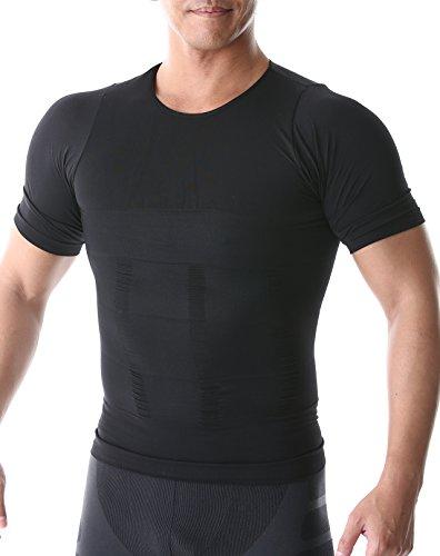 SPORTIA 加圧インナー 加圧シャツ コンプレッションウェア 吸汗速乾 半袖 メンズ ブラック M