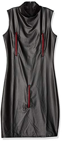 AT Damen Minikleid F106 Wetlook-Kleid in schwarz mit roten Reißverschlüssen Domina Outfit von Noir Handmade Dessous, Schwarz/Rot, 3XL (46)