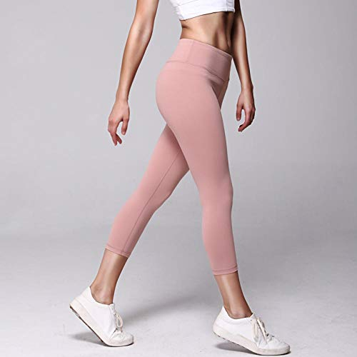 BLACK ELL Pantalones De Yoga para NiñOs,Pantalones de Yoga Desnudos de Cintura Alta, Elasticidad de Cadera Delgada-XL_ Rosa,Correr Pilates Fitness para Mujer Leggings De Yoga