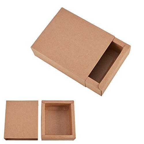 BENECREAT 20 Pack Kraft Papier Schublade Box Festival Geschenkverpackung Kasten Seife Schmuck Candy Jaten Gastgeschenke Geschenk Verpackung Boxen - Brown (12,8 x 10,8 x 4,2 cm)