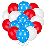 100 pieces Cat party balloons Polka Dot Latex Balloons Red White Blue with White Dot Balloons for Wedding Birthday Baby Shower Party Festival Supplies (Red White Blue Dot)