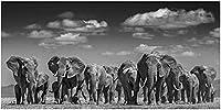 キャンバスウォールアートモダンウォールアートキャンバスペインティング象の群れポスターとプリント写真リビングルーム家の装飾アートワーク70x140cmフレームなし