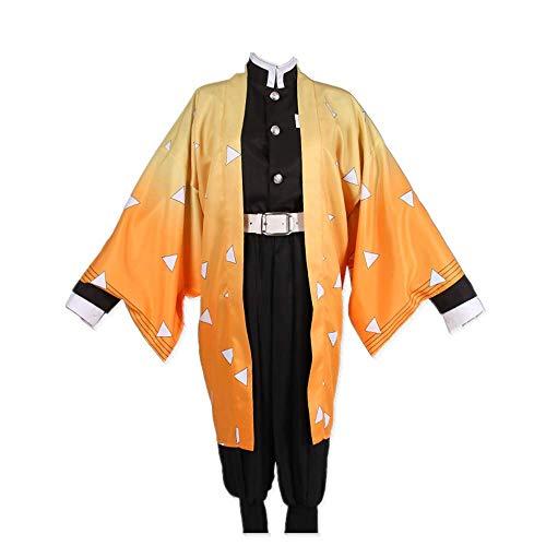 COSPARKY Anime Demon Slayer/Kimetsu No Yaiba Agatsuma Zenitsu Costume Cosplay Costume di Halloween Kimono Casual Giornaliero per Donna Uomo Set Completo