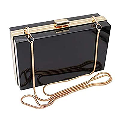 L-COOL Cute Acrylic Shoulder Bag Cross-body Bag Evening Clutch Handbag With Gold Snake Chain(2 Chains) Shoulder Strap For Women (Black)