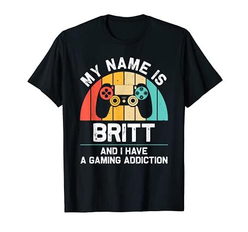 BRITT Regalo Nombre Personalizado Funny Gaming Geek Cumpleaños Camiseta