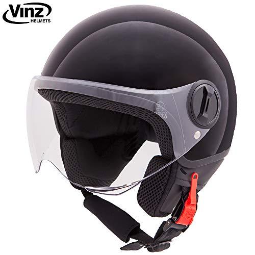 Vinz Rollerhelm Jethelm Basic | Jet Roller Motorrad Helm | in Gr. XS-XL | Helm mit Visier | ECE zertifiziert (M (57 cm), Schwarz)