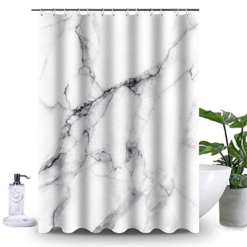 """Uphome Marble Shower Curtain for Bathroom Grey and White Fabric Shower Curtain Set with Hooks Chic 3D Crack Design Bathroom Accessories Decorative Heavy Weighted(72"""" W x 72"""" H)"""