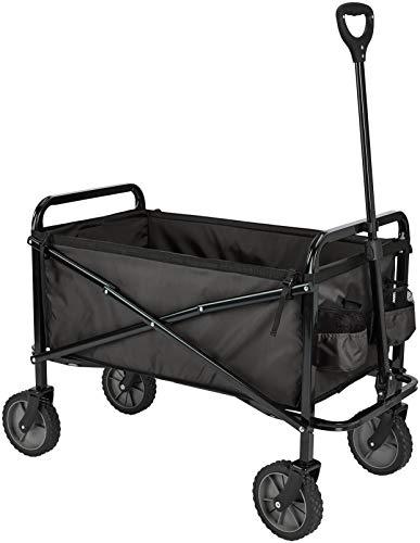 AmazonBasics Zusammenklappbarer Bollerwagen für den Garten, faltbar, mit Abdeckung, für den Außenbereich, Schwarz