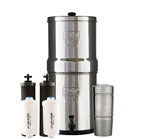 Bundle Includes: Big Berkey Water Filter System with 2 Black Purifier Filters (2 Gallons) Bundled with 1 Set of Fluoride (PF2) Filters and 1 BX Double Walled 20 oz Stainless Steel Tumbler Cup