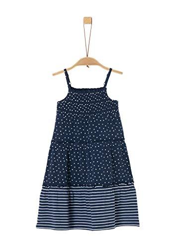 s.Oliver Junior Mädchen 403.10.005.20.200.2040633 Kinderkleid, 57A4 Dark Blue AOP, 122 REG
