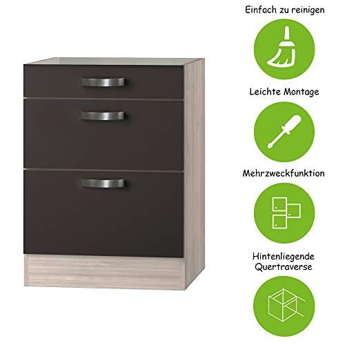 MMR Auszug-Unterschrank Küche DALLAS, ohne Arbeitsplatte, 1 Schublade, 2 Auszüge, 60 cm breit, Grau/Akazie Dekor