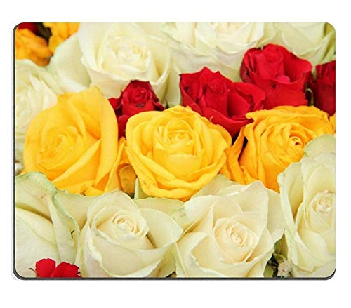 (Precision seamed) Natural Rubber Mouse Pad Yellow red and white roses in a wedding centerpiece3