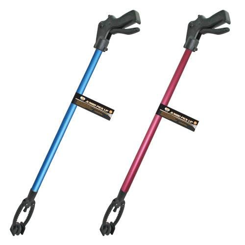 Pick up Stick for Seniors, 10'' Wide Jaw - 36'' Long, Reacher Grabber Pickup Tool -Reaching aids, Grabber Reacher Tool, Trash Picker, Grabbers for Elderly, Surgery Recovery Gifts (Red & Blue)
