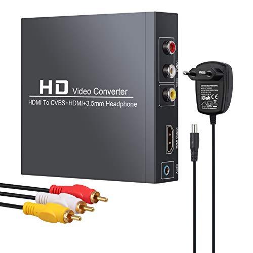 Neoteck HDMI a RCA y HDMI Convertidor 1080P@60Hz HDMI a HDMI+3RCA CVBS...