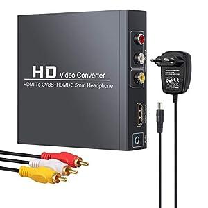 Neoteck HDMI a RCA y HDMI Convertidor 1080P@60Hz HDMI a HDMI+3RCA CVBS Adaptador de Audio y Video Compuesto AV con Auriculares de 3.5 mm con Funcion de Zoom Compatible con 1080P PAL/NTSC para TV HDTV
