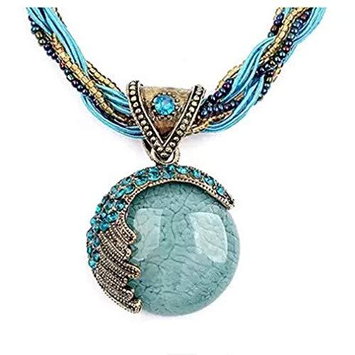 Ogquaton Collier avec Pendentif Ethnique de qualité supérieure Vintage Style Style Pendentif délicat Cadeau de Bijoux tricotés