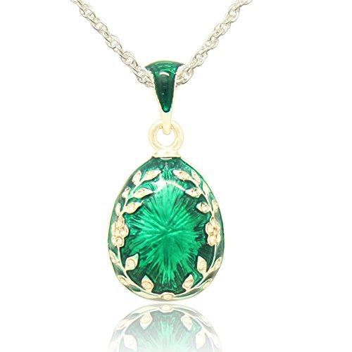 MYD Jewelry リーフフラワークリスタル イースターエッグチャームペンダントネックレス ロシアスタイル M