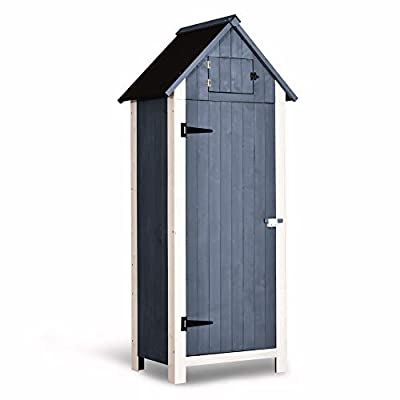 """MCombo Outdoor Storage Cabinet Tool Shed Wooden Garden Shed Organizer Wooden Lockers with Fir Wood (70"""") 0770 (Gray)"""