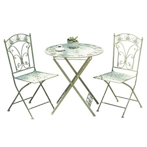 Juego de 3 muebles de jardín para patio, mesa y sillas plegables de hierro forjado para taberna al aire libre, 2 sillones y 1 mesa de metal para el patio / césped / piscina del patio trasero