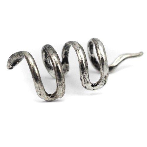 Elixir77UK orecchino a clip senza buco colore argento antico a forma di vipera