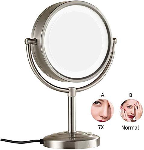8-Zoll-Make-up-Spiegel für die Arbeitsplatte Praktisch, doppelseitig beleuchteter Waschtisch aus Messing mit LED-Beleuchtung und drehbarer, stehender kosmetischer Vergrößerung , Nickel, 5-fach