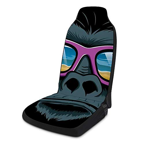 NIKIMI Car Seat Covers 2 Pcs Cool Gorilla Sunglasses Comfort Polyester Cloth Sponge Prevent Tear Accessories Protectors Decor for Truck