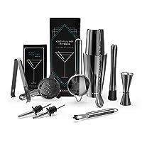 navaris kit cocktail shaker professionale - set completo 11 pz. accessori mixology per preparazione drink longdrinks shakerati - attrezzatura barman