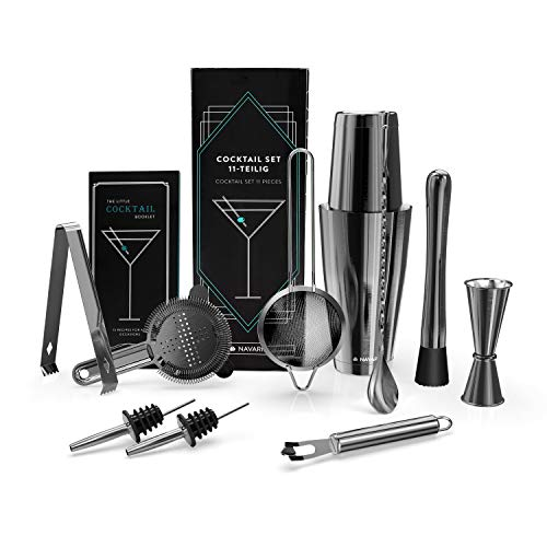 Navaris Kit Cocktail Shaker Professionale - Set Completo 11 pz. Accessori Mixology per Preparazione Drink Longdrinks Shakerati - Attrezzatura Barman