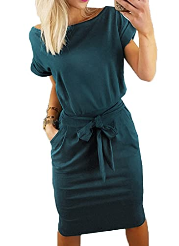 PRETTYGARDEN Ladies Basic Crewneck Short Belted Office Dress with Pockets Solid Color Summer Short Sleeve Party Dress Slim T Shirt Dress Dark Green