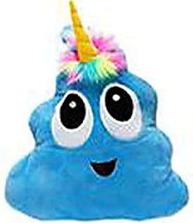 Blue Poo-Nicorn Emoji Pillow, The Poo Emoji with a Unicorn Horn and Rainbow Hair