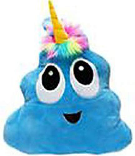 Blue Poo-Nicorn Emoji Pillow, The Poo Emoji with a Unicorn Horn and Rainbow Hair