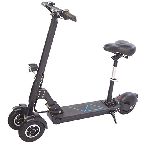 Quino Patinete eléctrico para Adultos de Tres Ruedas Ajustables Plegables, motorizados, patín con Asiento Desmontable Portátil Batería de Litio de hasta 35 km 25 km/h 36V Black